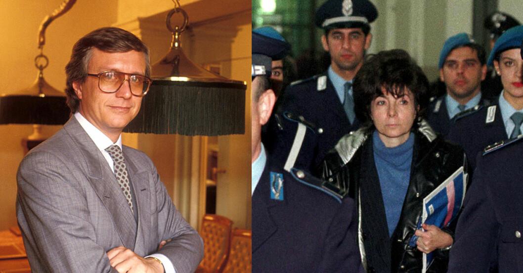 Maurizio Gucci innan sin död och Patrizia Reggiani under rättegången.