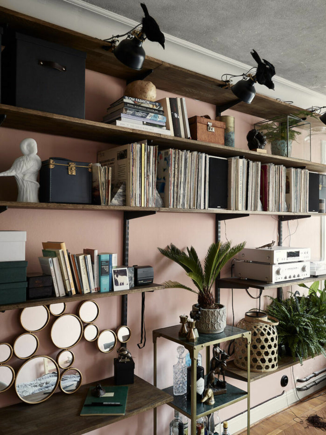 Pink painted walls and decoration. Scandinavian interior ideas and inspiration.