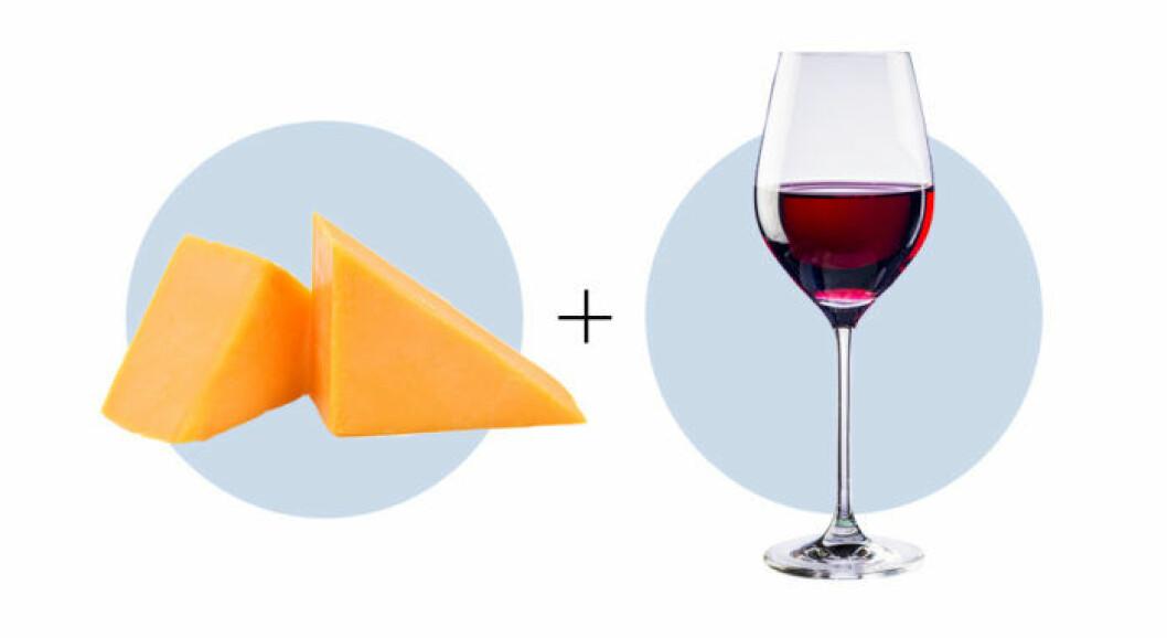 Ost och vinkombination cheddar och Cabernet sauvignon