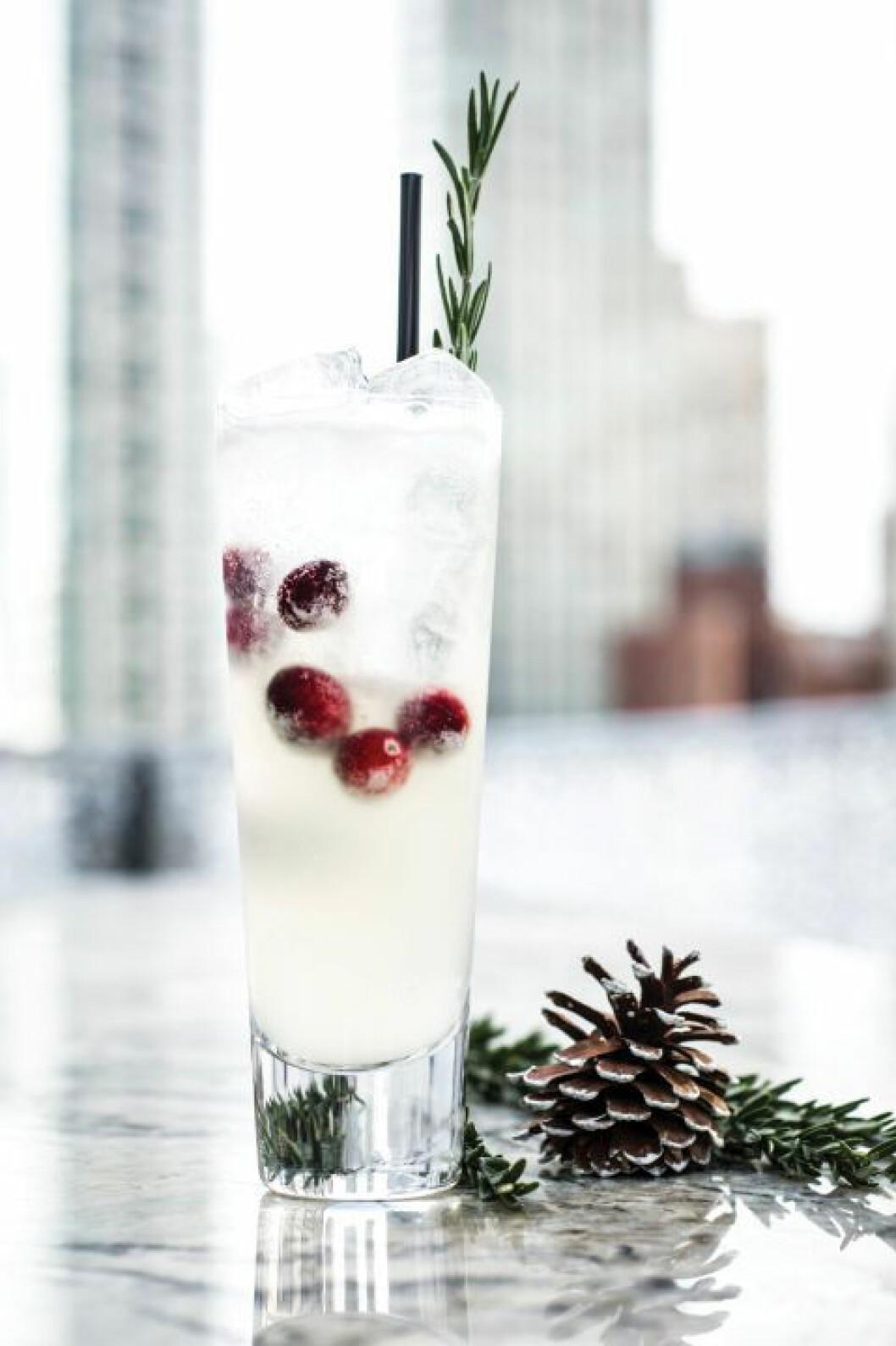 Cocktail med citrus och örter.