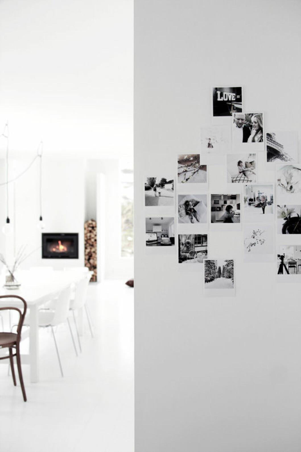 Polaroidbilder skapar en tavelvägg i miniatyr