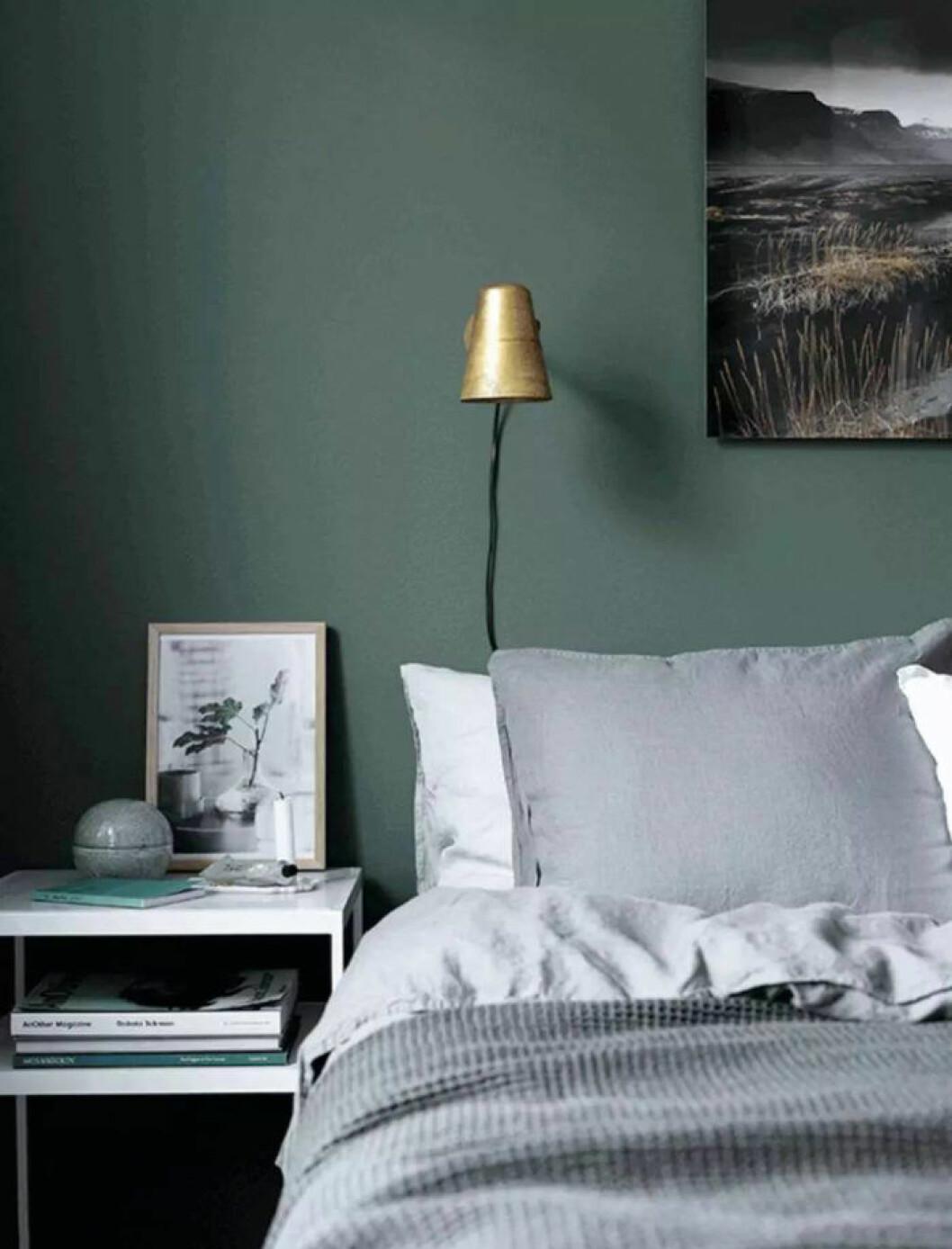 Sovrum med mörkgrön vägg