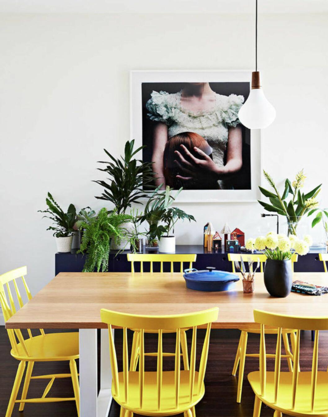 Gulmålade stolar runt matsalsbordet