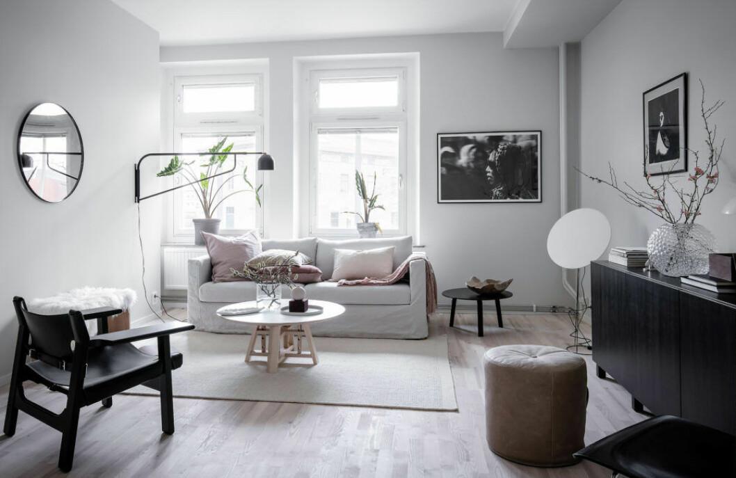 Vardagsrum där rosa kvistar i vasen matchas med soffans rosa kuddar