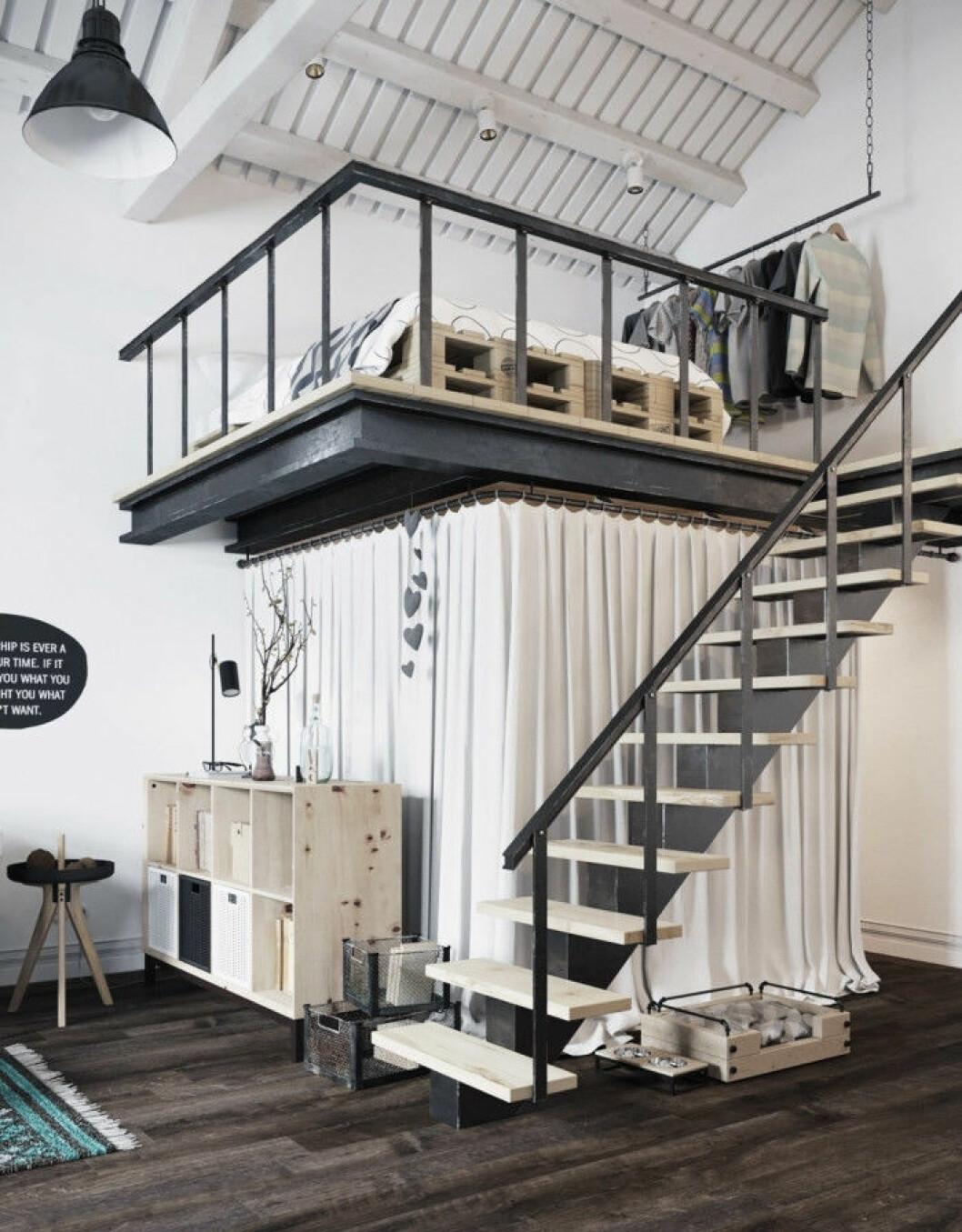 Loftsäng i industriell stil med tillhörande trappa