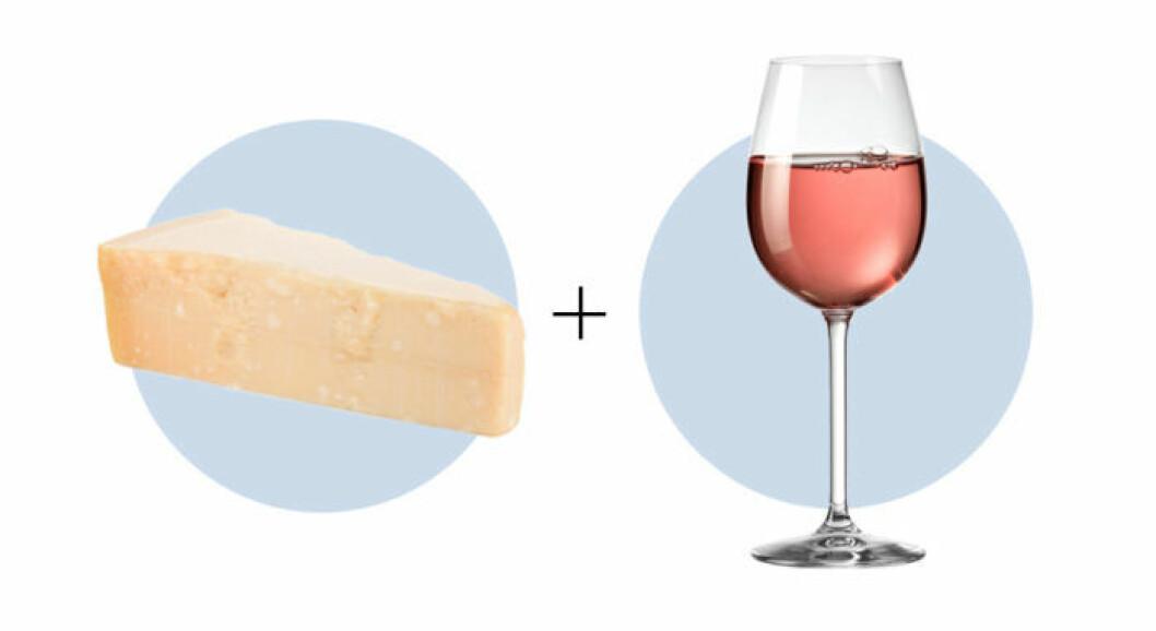 Parmesan passar till rosé.