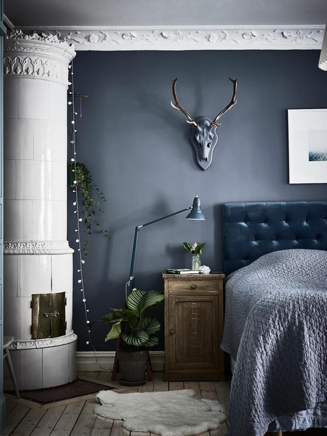 Sovrum med olika nyanser att blått