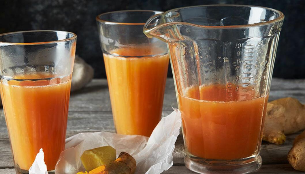 Citrusshot med ingefära och gurkmeja.