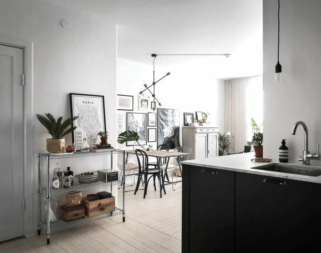 Rostfria detaljer i köket och matplatsen