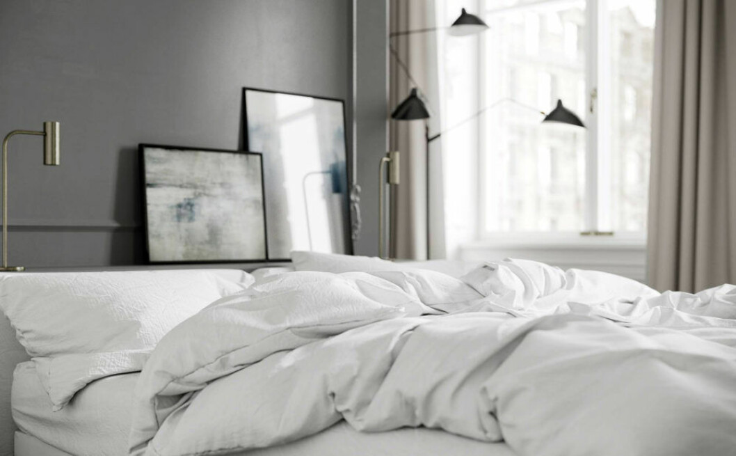 Sovrum med en säng