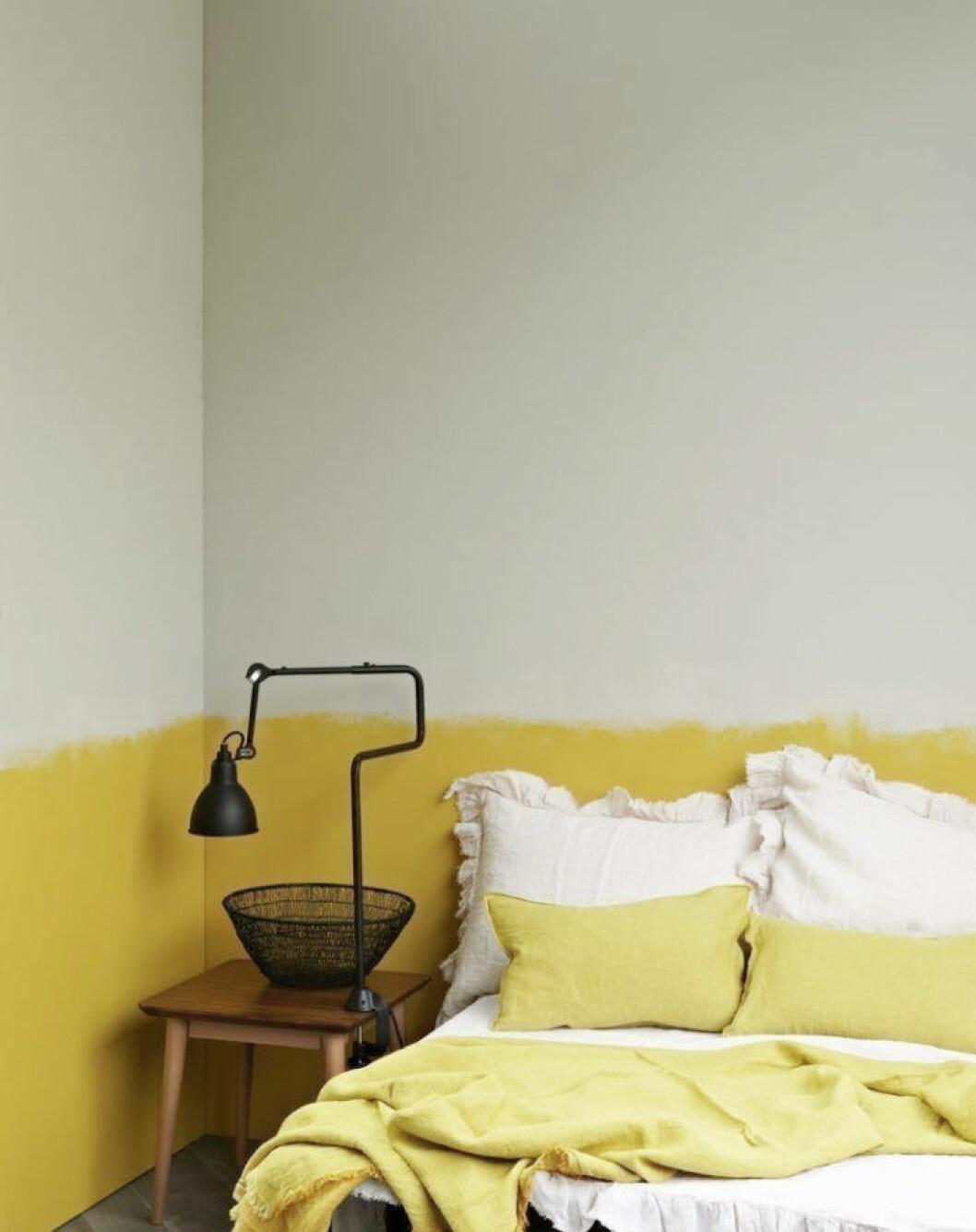 Tvädelad färg i sovrum