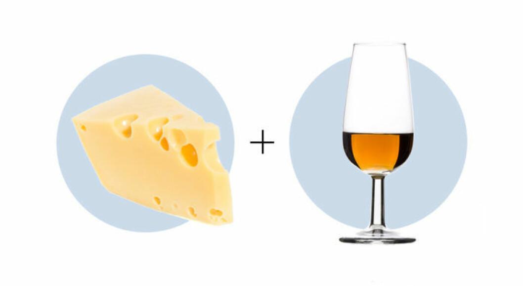 Ost och vinkombination Gruyère och Sherry