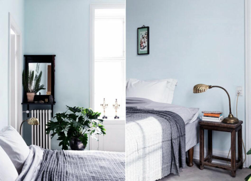 Ljusblått sovrum