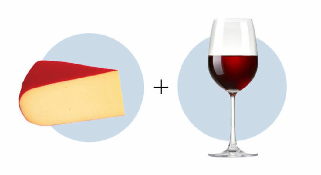 Ost och vinkombination Gouda och Merlot
