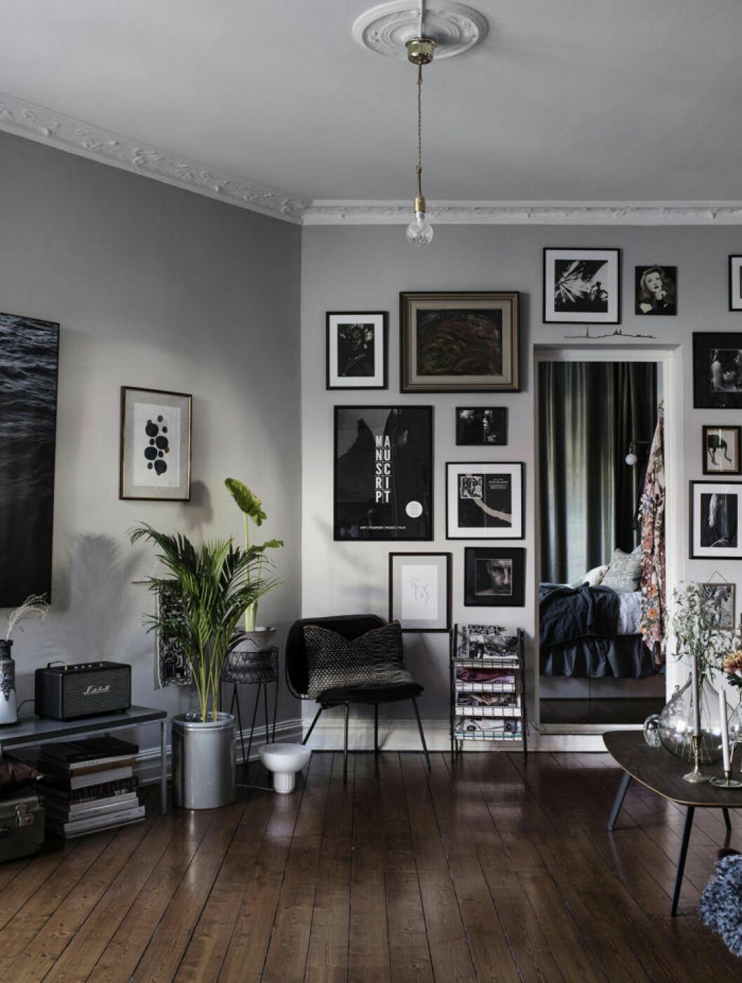 Vardagsrum med ljusgråa väggar och tavelvägg