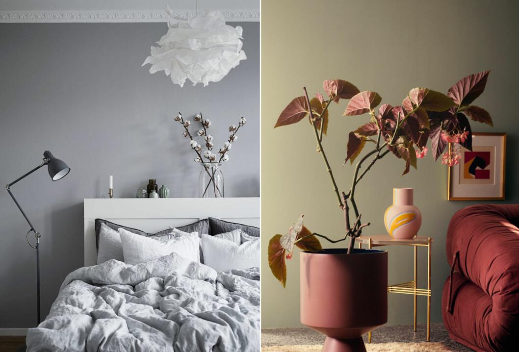 Inspirationsbild med sovrum och stilleben