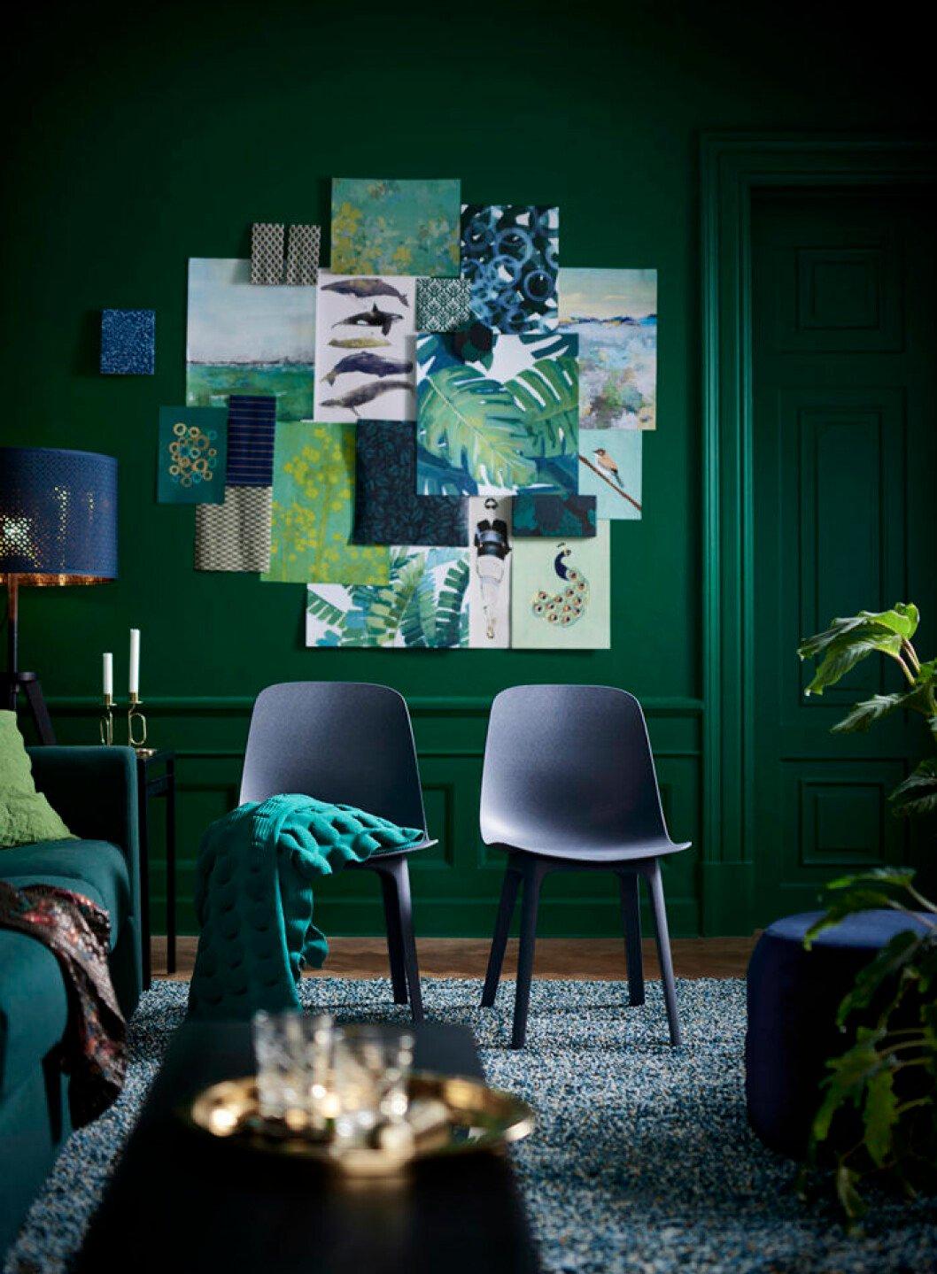 Grönmålad vägg och stolar från Ikea.