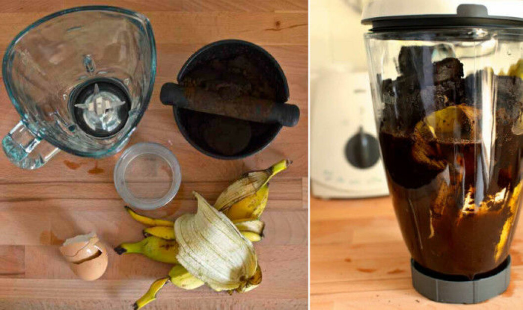 Hemmagjord växtnäring av banan, äggskal och kaffesump