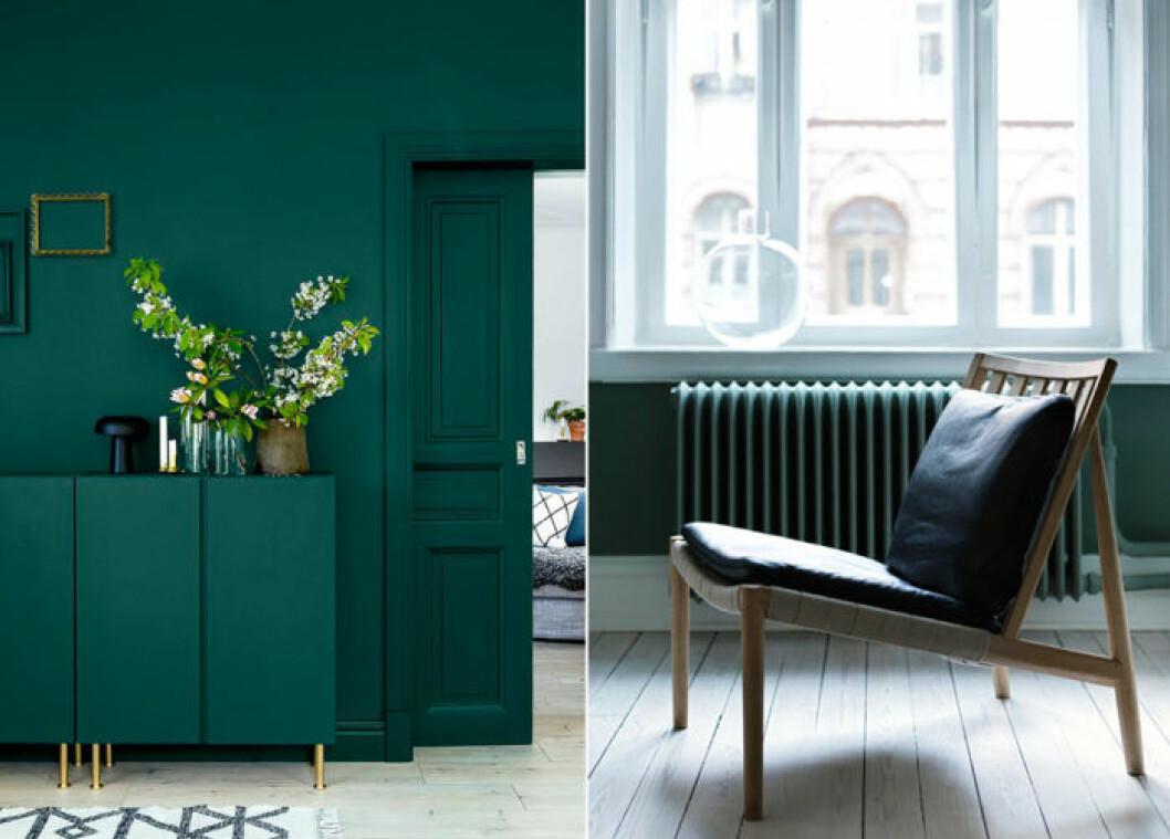 Grön färg, grön sideboard
