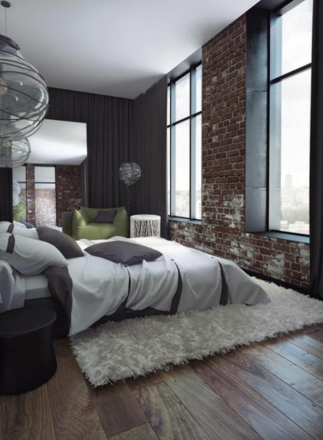 Tegelvägg i sovrummet