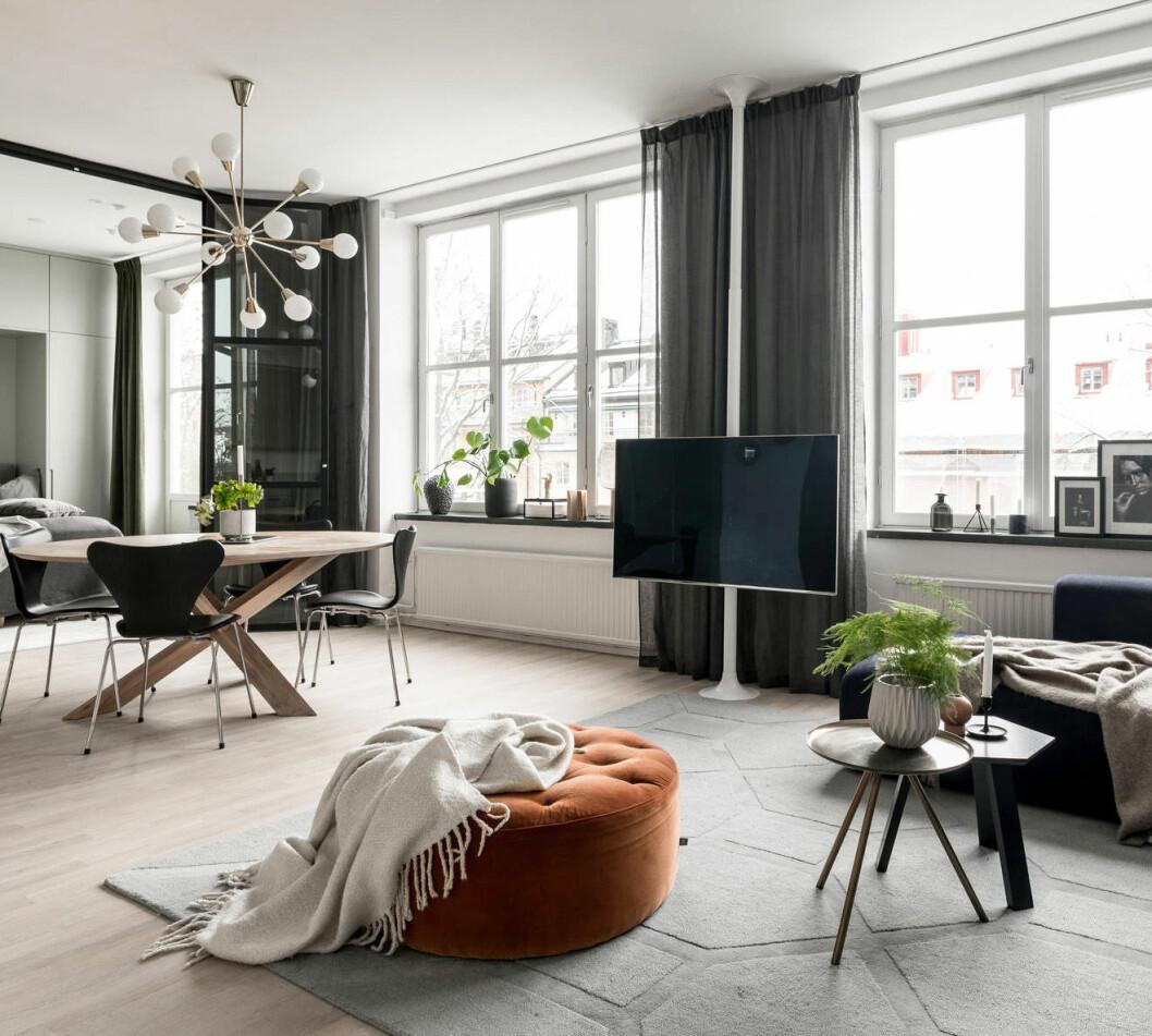 Vardagsrum med sittpuff och taklampa med mässingsdetaljer. Fjädersparris i kruka.