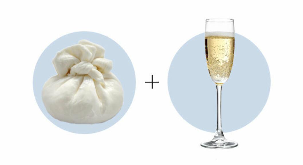 Ost och vinkombination Burrata och Champagne