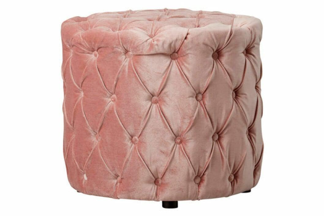 Sammetspuff i rosa lyxig färg