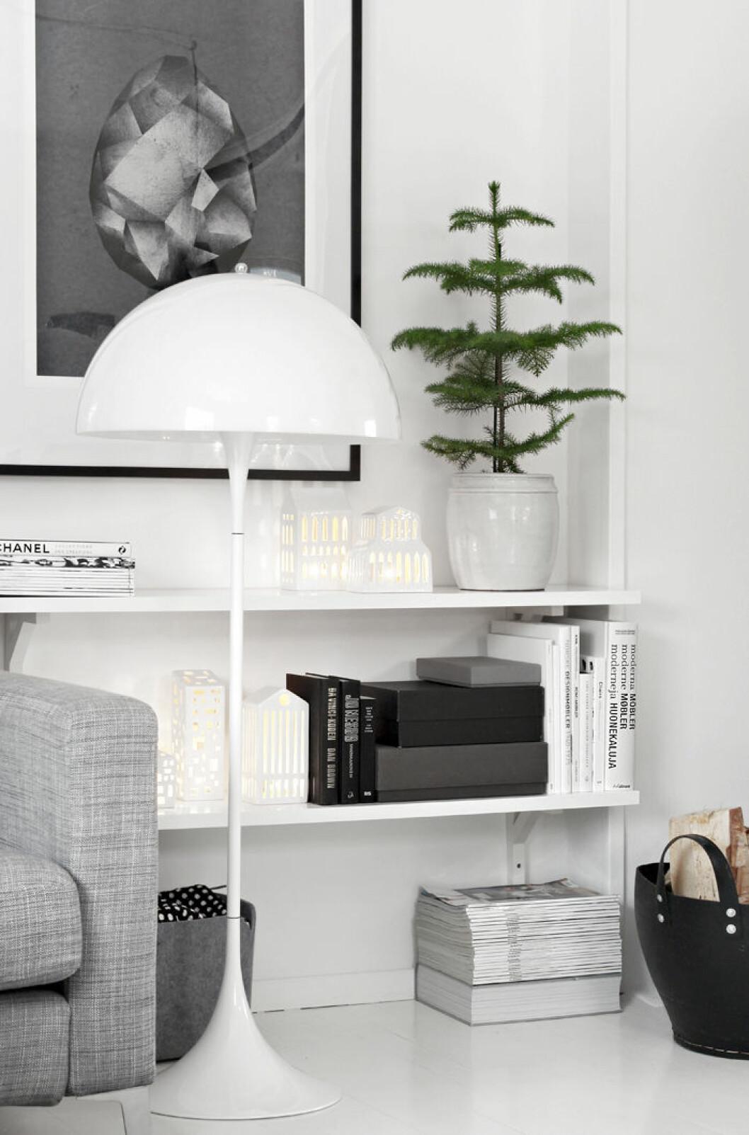 Platsbyggd hylla i vardagsrum med liten rumsgran i en kruka på