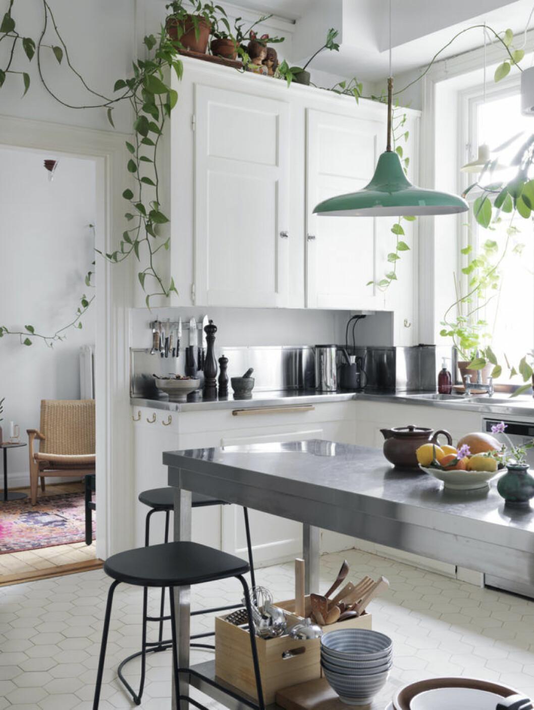 Kök i skandinavisk stil med gröna klängväxter.
