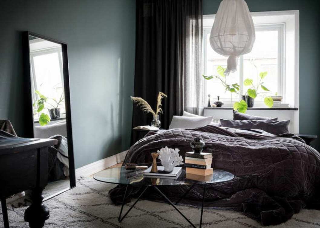 Scandinavian decoration and ideas. Bedroom with plants and mirror, painted walls and rug.