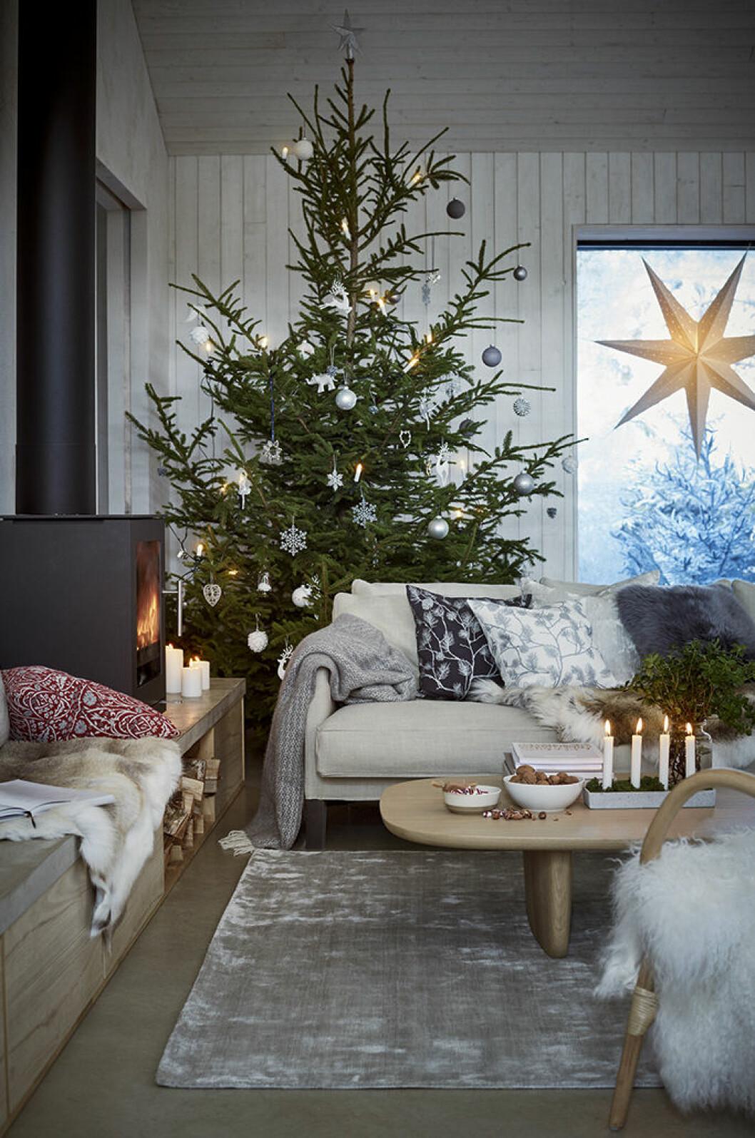 Julgran bakom soffan