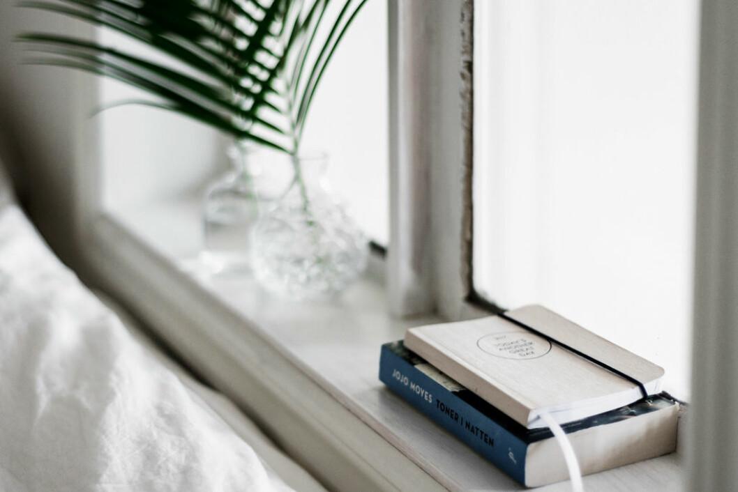 Fönsterbräda med plats för andra saker, böcker och anteckningsbok