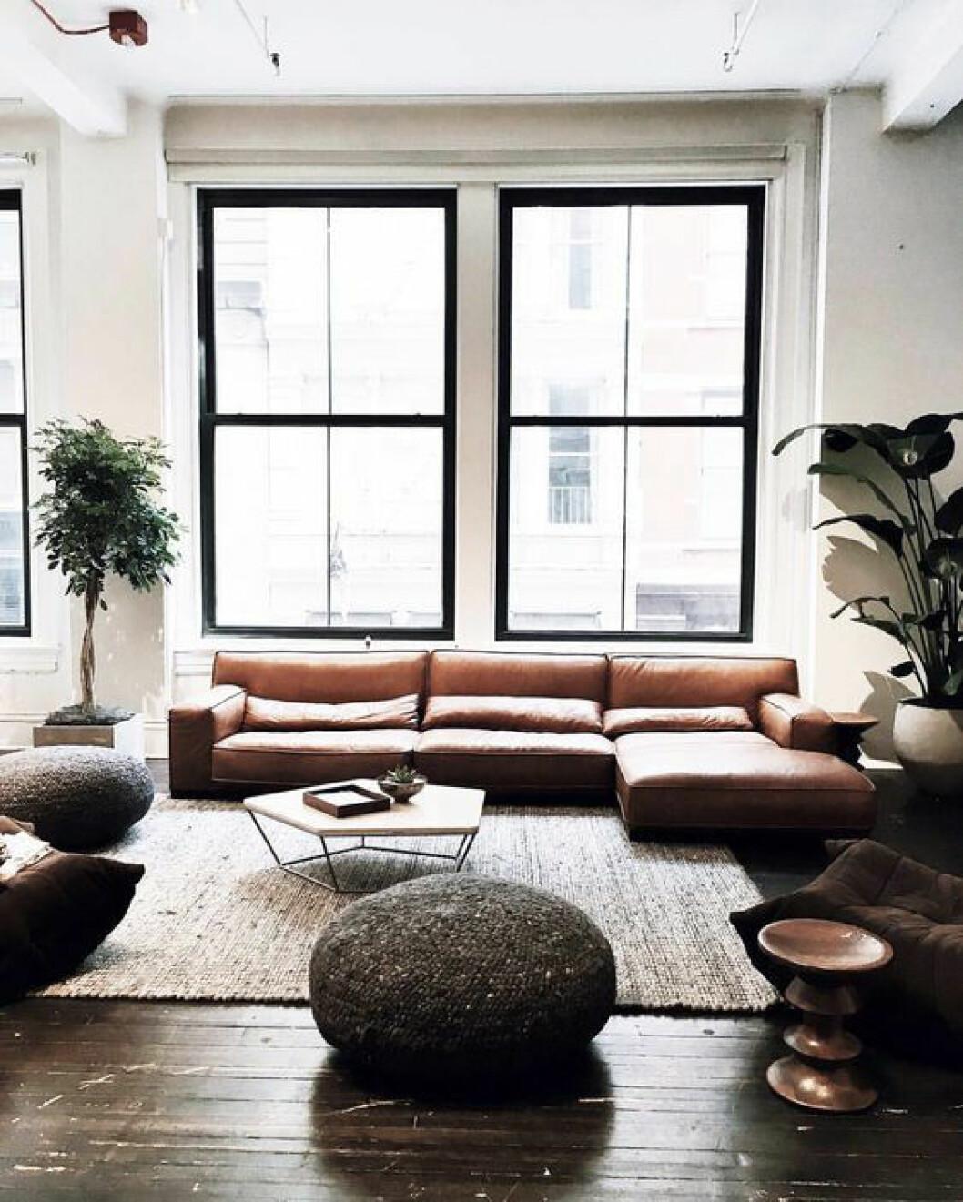 Svarta fönster mot en cognacfärgad soffa