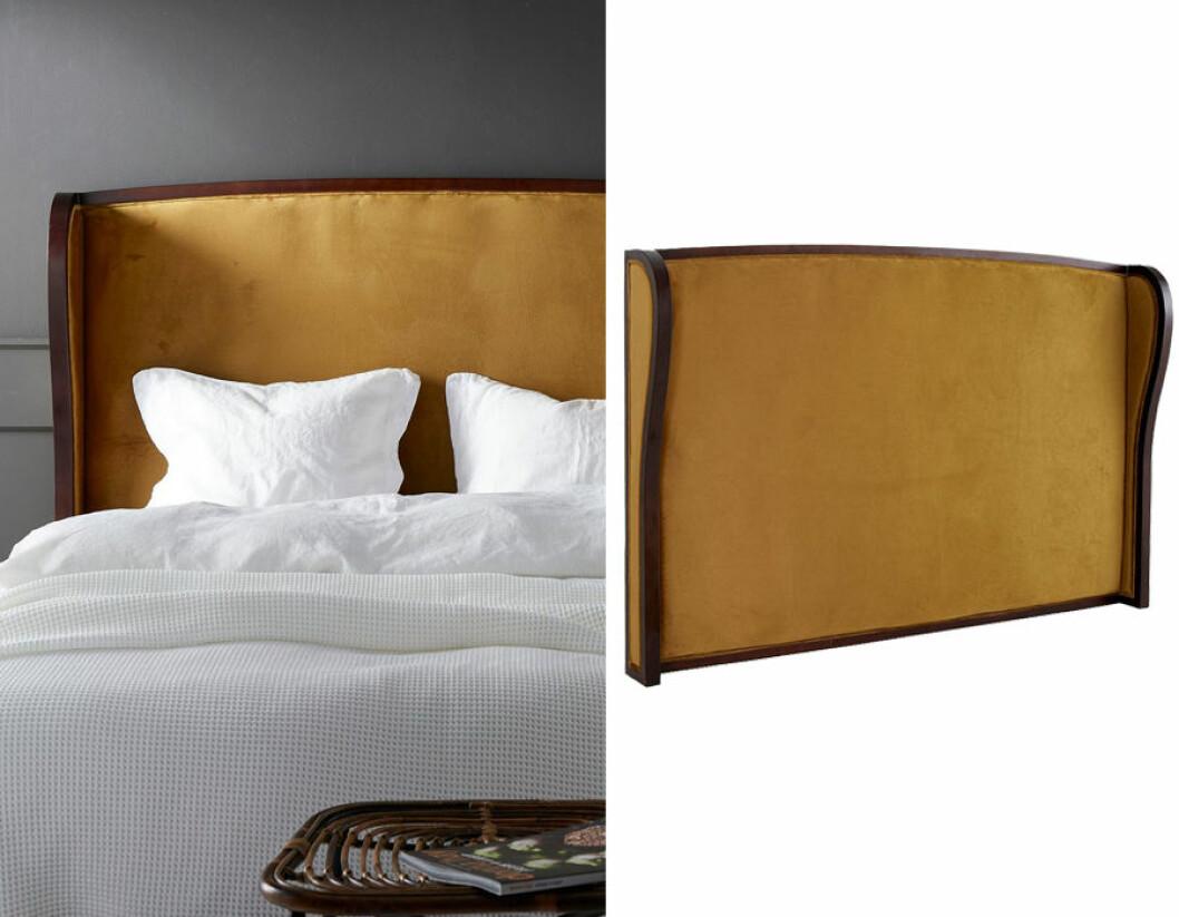 Sänggavel i gul sammet.