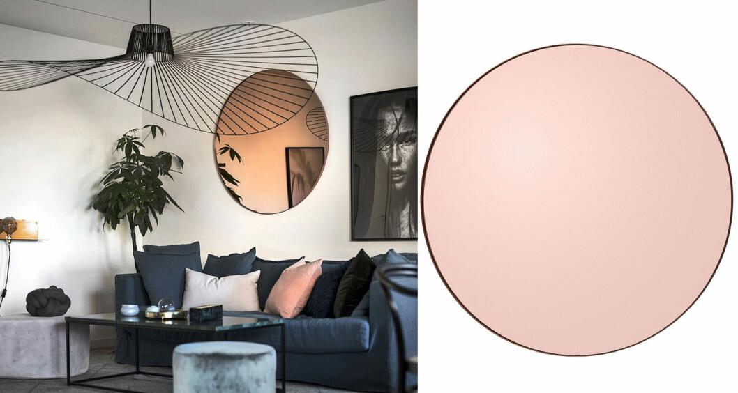 Circum, AYTM rund spegel med rosa yta.