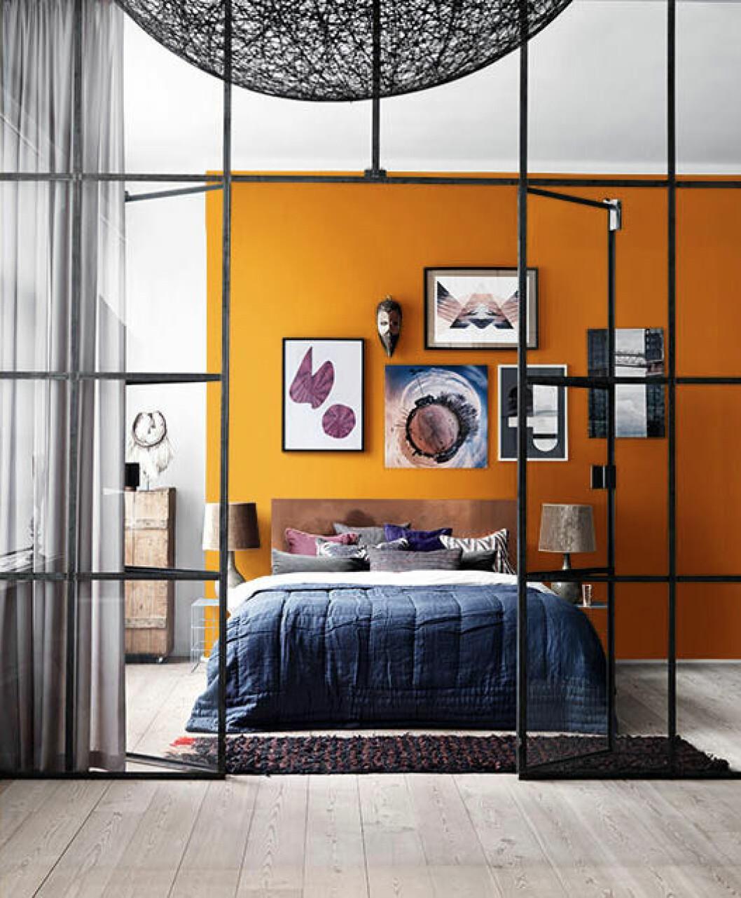 Orange vägg, industriglasvägg