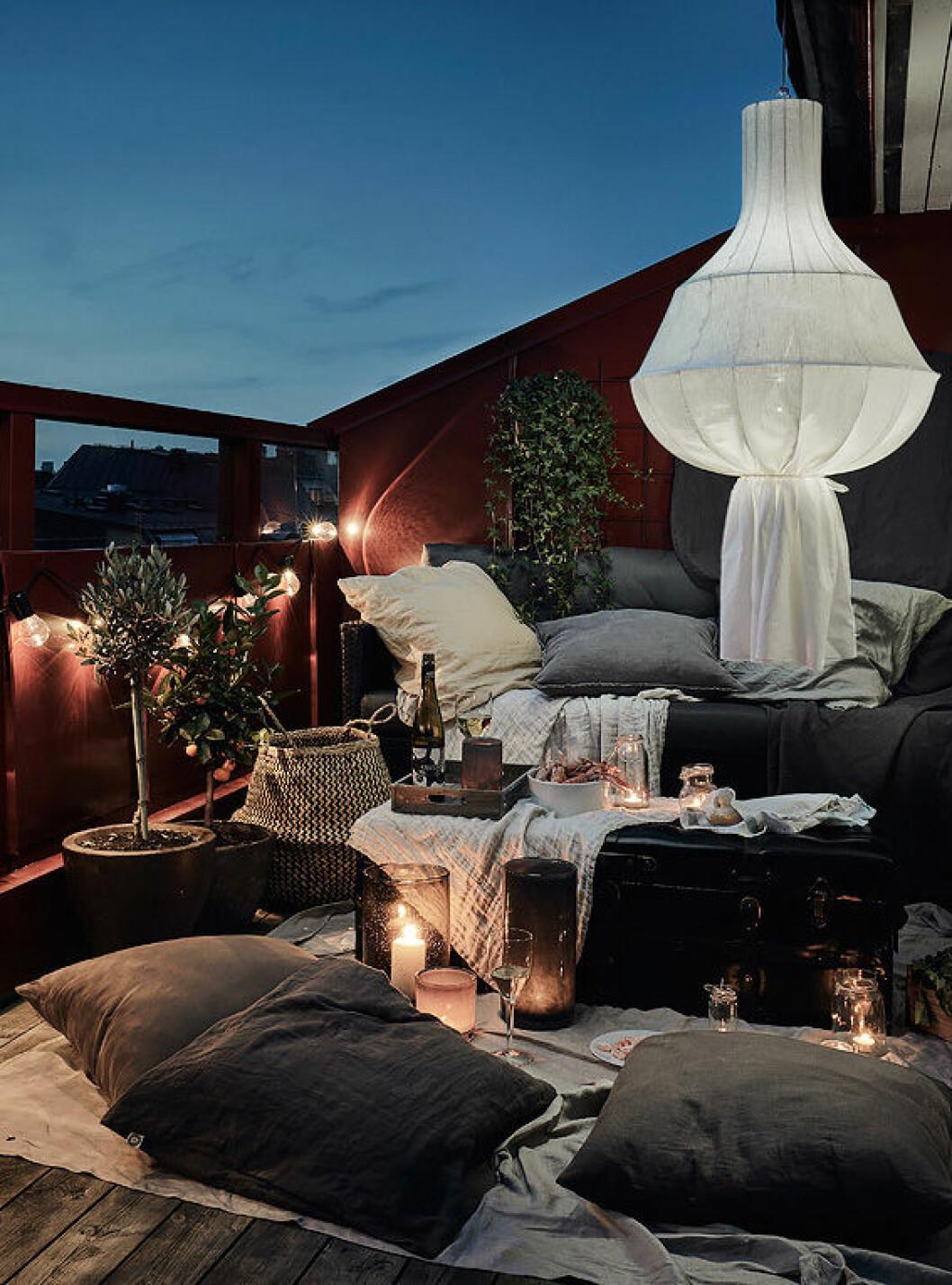 Cosy scandinavian balcony in the summer. Nightsky.