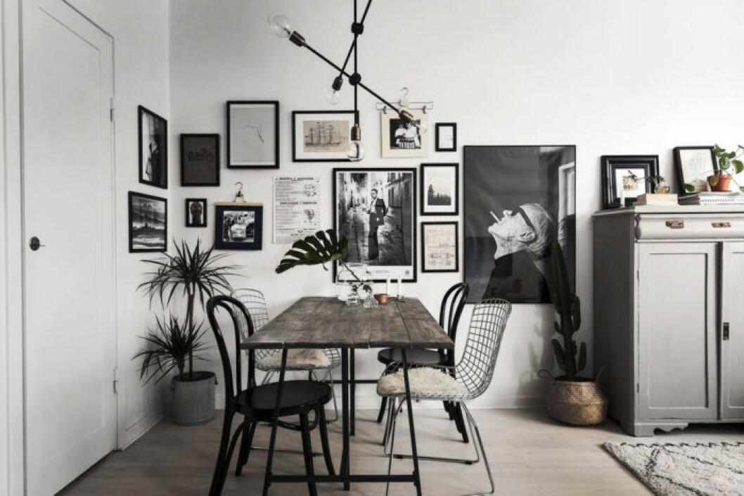 Matbord med en mix av stolar i olika stilar
