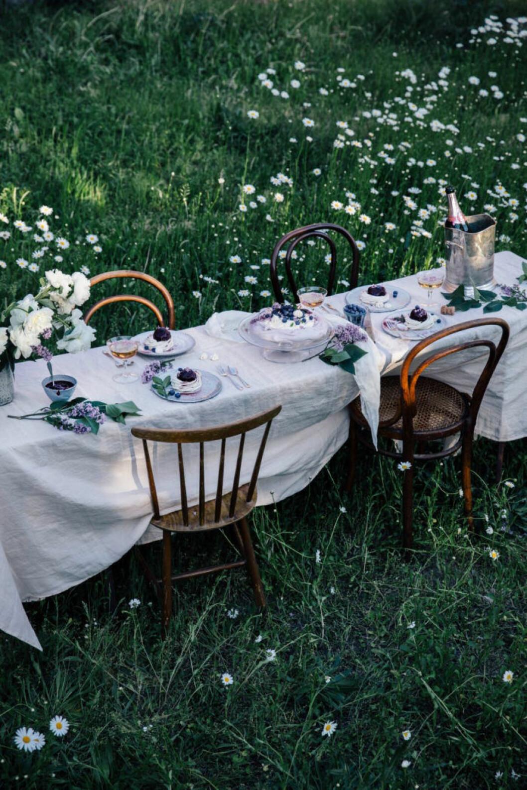 dukat bord med linneduk på gräsmattan