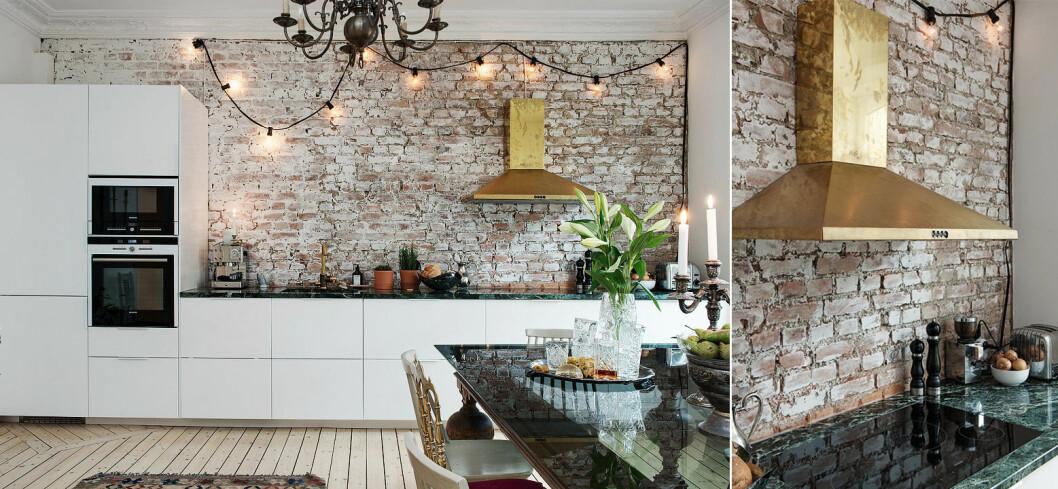 En gammal tegelvägg behölls som rustik vägg bakom köket