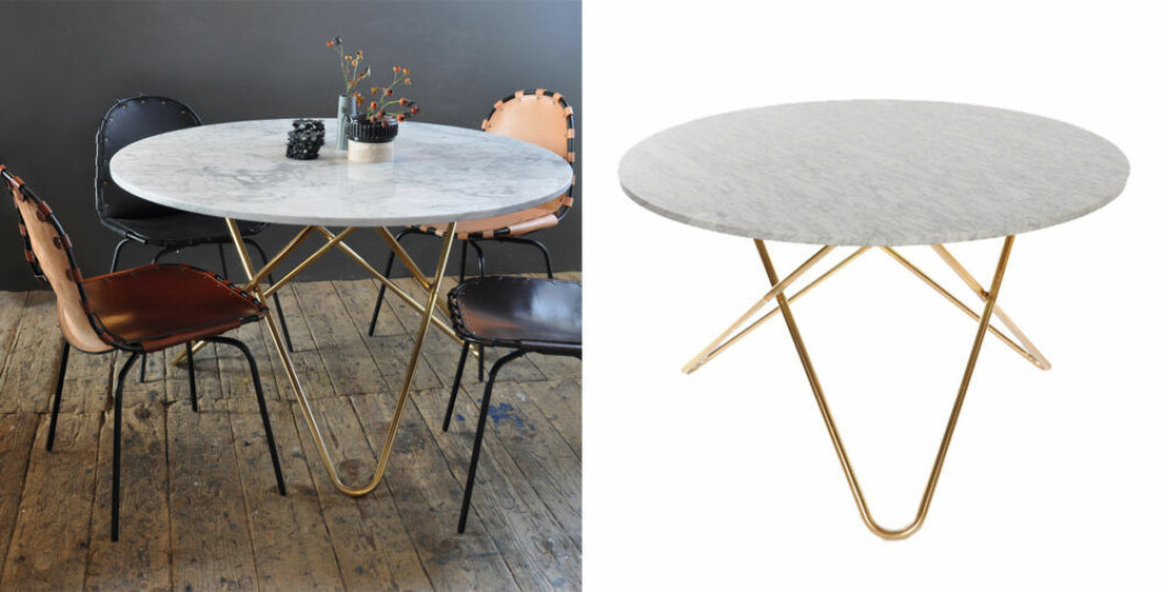 Matsalsbord i vit marmor och bordsben i mässing