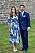 Prinsessan Sofia i en mönstrad blå och vit klänning från Andiata