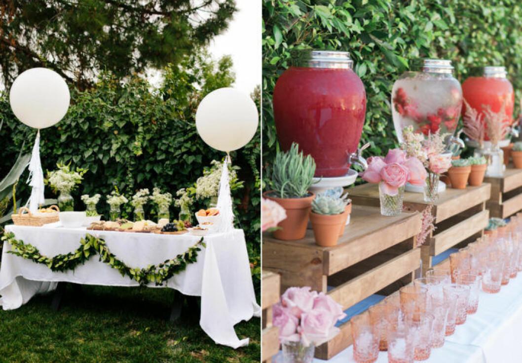 buffe med drinkar på tapp och vackra växter som dekoration