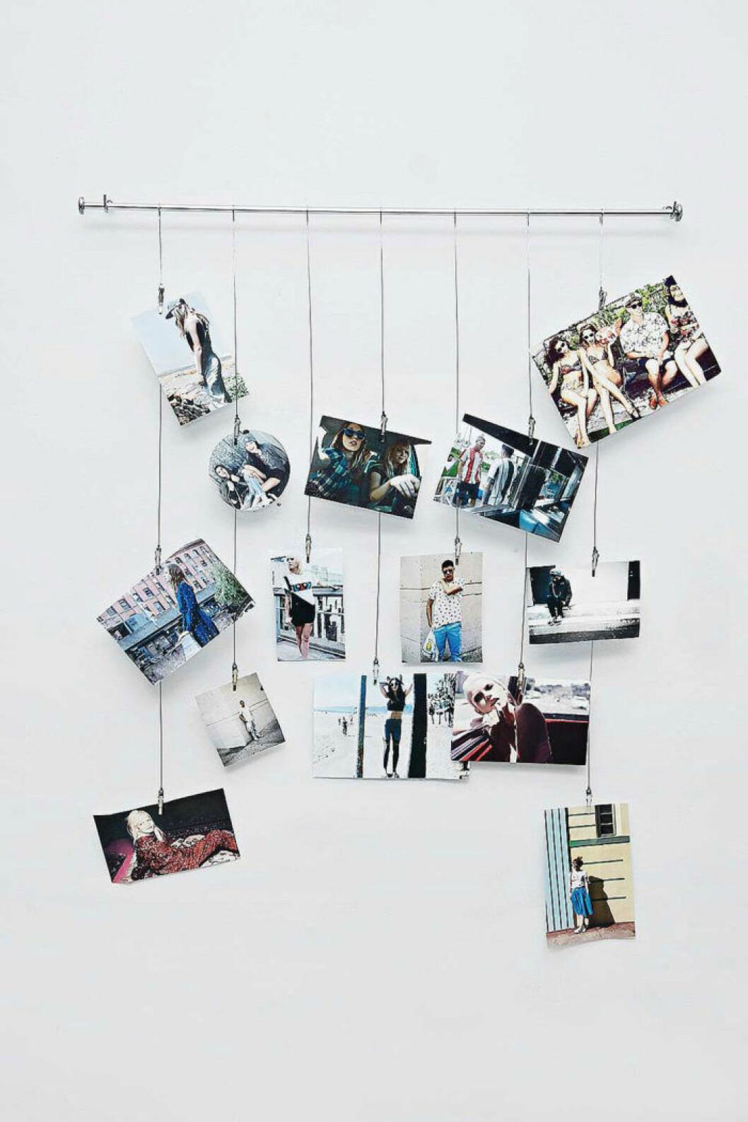 Fotografier har fäst på vajrar som hängts lodrätt