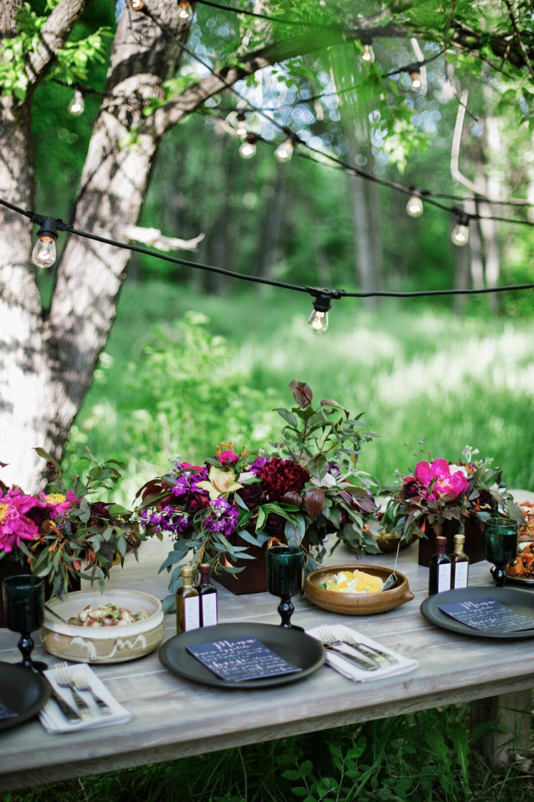 Pyntad trädgård med ljusslingor