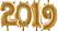 Små 2019-folieballonger i guld från Clas Ohlson