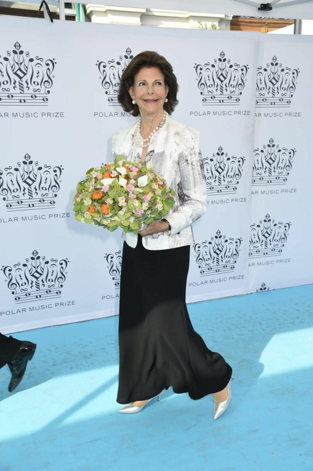 Drottning Silvia på röda mattan på Polarpriset.