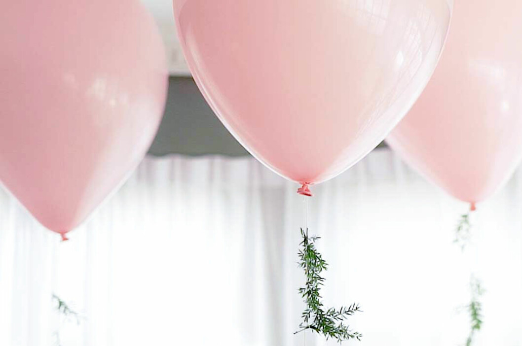 Ljusrosa ballonger med växter på