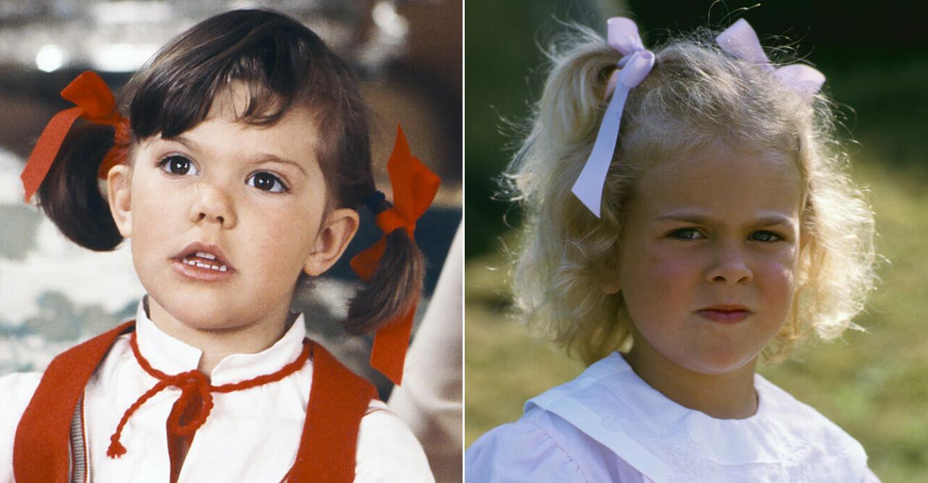 Kronprinsessan Victoria och prinsessan Madeleine i samma ålder.