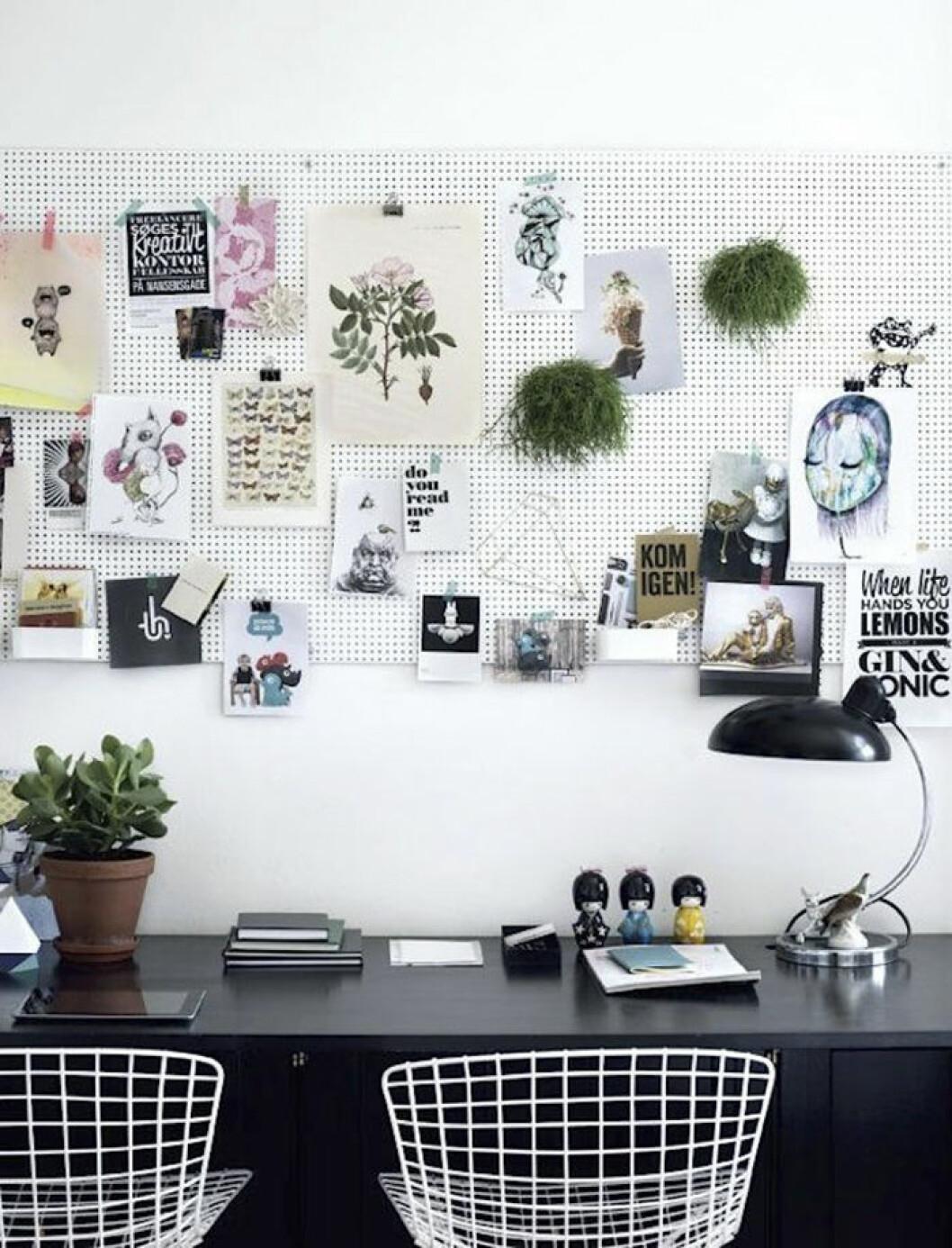 Fotovägg ovanför skrivbord